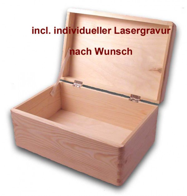 aufbewahrungsbox holzkiste m deckel gr 1 kiefer incl lasergravur nach wunsch incl. Black Bedroom Furniture Sets. Home Design Ideas